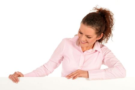 Woman leaning on a billboard Stock Photo - 2646393
