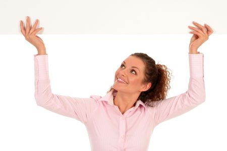 Businesswoman holding blank poster Stock Photo - 2646375