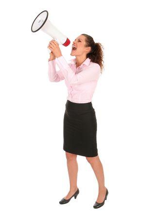 agitation: Businesswoman with Megaphone
