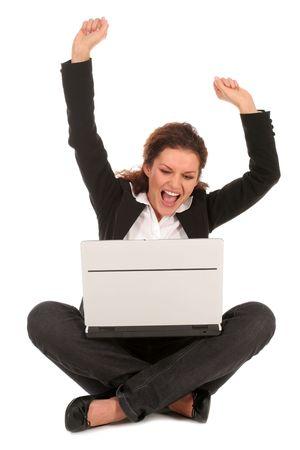 overjoyed: Overjoyed businesswoman Stock Photo