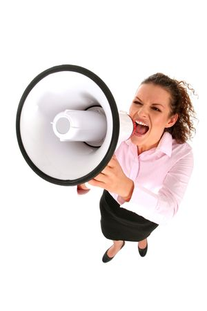 Businesswoman Shouting Through Megaphone photo