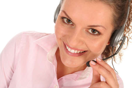 Woman with telephone headset photo