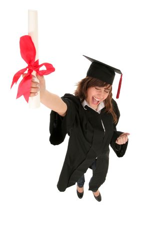 graduating: Female graduate holding a degree