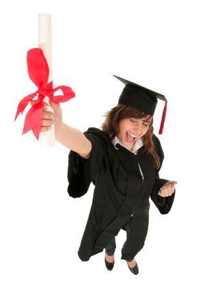 diploma: Mujeres celebraci�n de un t�tulo de posgrado  Foto de archivo