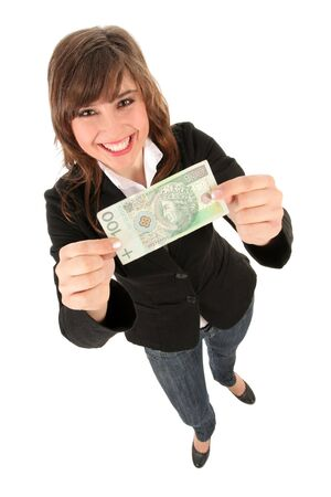Woman Holding Banknote photo