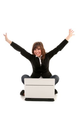 Woman with Laptop Cheering photo