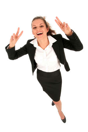 Businesswoman making peace sign photo