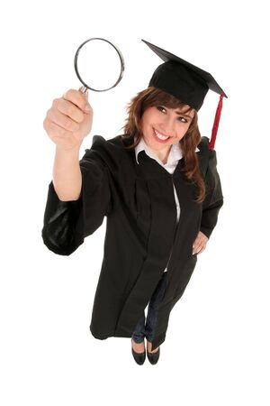 blowup: Female Student Holding Magnifying Glass Stock Photo