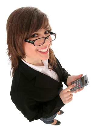 Businesswoman in spectacles holding calculator photo