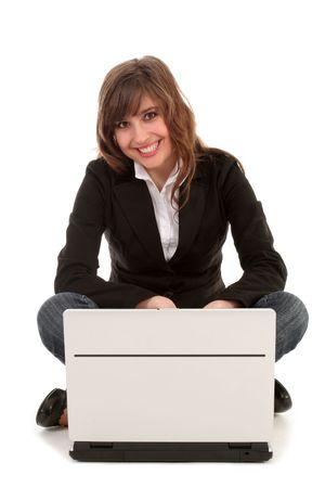 Woman using laptop photo