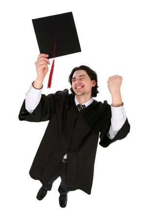 clenching: Man in graduation robes clenching fists Stock Photo