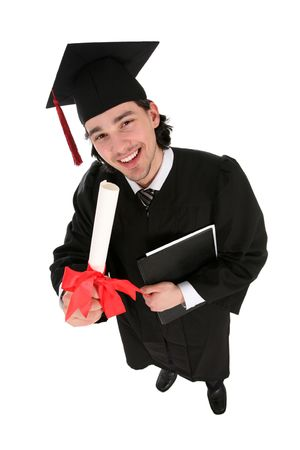 Male graduate smiling holding a degree photo