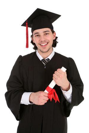 licenciatura: Hombre de posgrado sonriente la celebraci�n de un grado