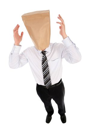 is embarrassed: Businessman with paper bag over head