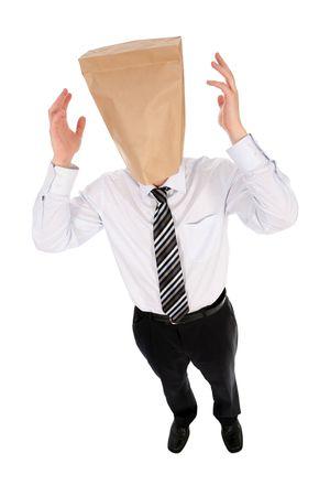Uomo d'affari con il sacco di carta ambientale