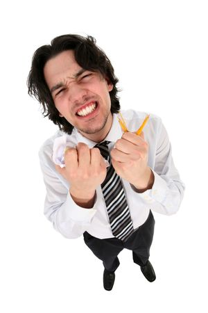 clenching: Angry businessman clenching teeth  Stock Photo