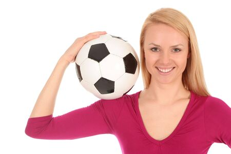 Woman holding soccer ball Stock Photo - 3101164