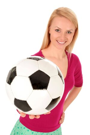 Woman holding soccer ball photo