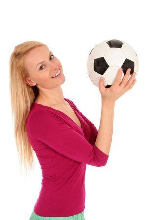 Woman holding soccer ball Stock Photo - 3101163