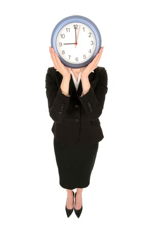corporate waste: Businesswoman holding clock