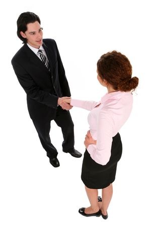 Man and woman shaking hands photo