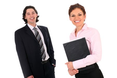 Two young office workers photo