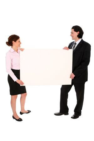 Business people holding blank poster board photo