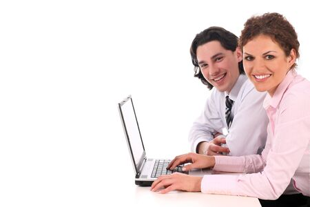 Business people with laptop Stock Photo - 3189781