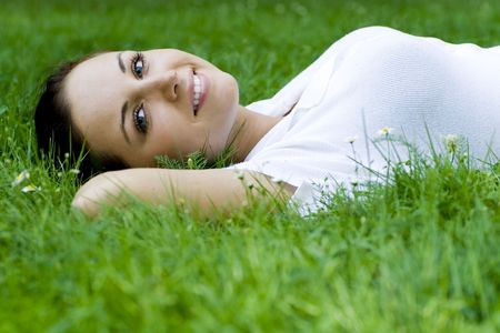freetime: Woman lying on grass