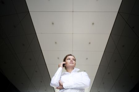 Businesswoman outside a modern building photo