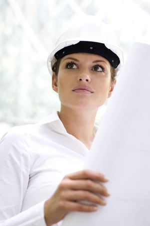 Female architect holding blueprints Stock Photo - 3545148