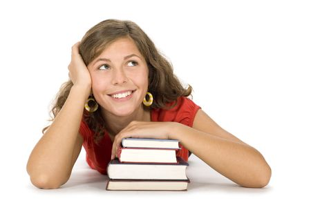 Smiling Woman with Stack of Books Stock Photo - 3553846