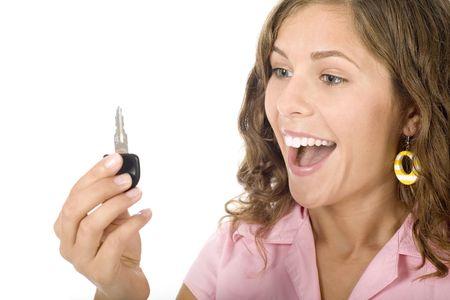 Teenage girl holding car key Stock Photo - 3553848