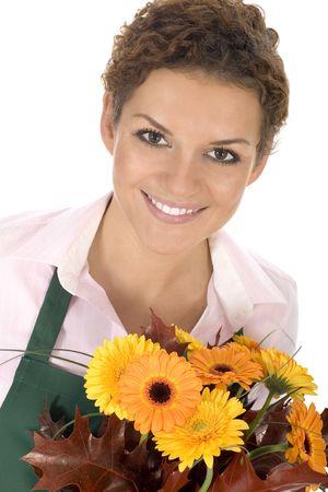 Florist holding flowers photo