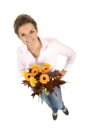 Woman holding bunch of flowers photo