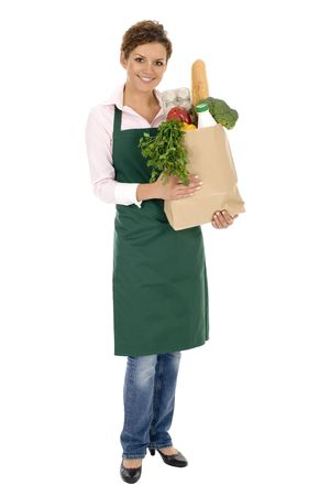 grocer: Shop Assistant Holding Grocery Bag Stock Photo