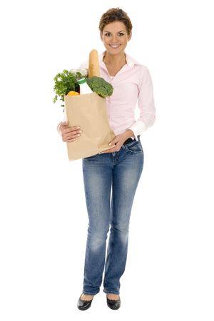 deliverer: Woman holding grocery bag