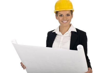 female architect: Female architect holding blueprints Stock Photo