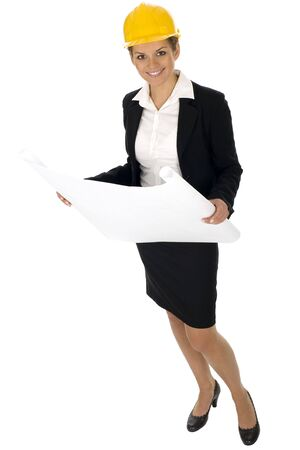 Female architect holding blueprints Stock Photo - 3637410
