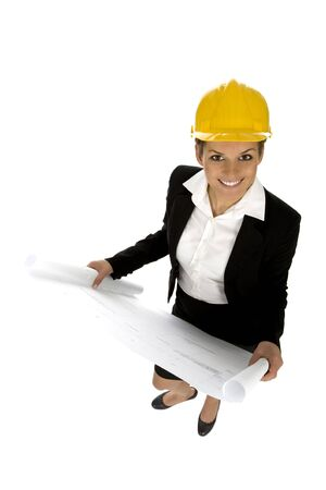 Female architect holding blueprints Stock Photo - 3637411