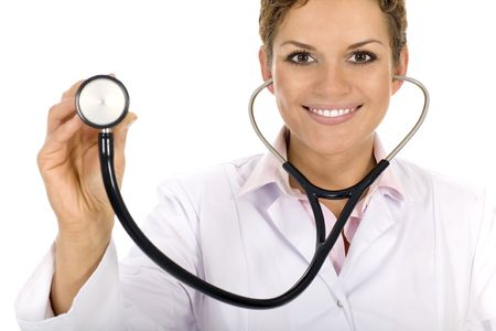 stethoscope isolated on white background: Doctor with stethoscope Stock Photo