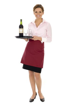 serving tray: Waitress Serving Wine