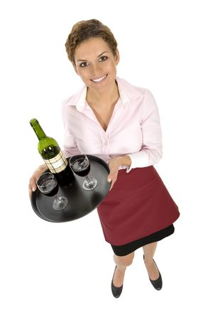 Waitress Serving Wine Stock Photo - 3664208