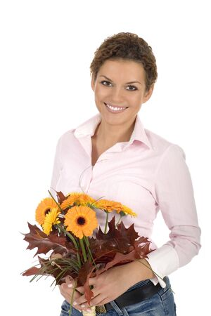 Woman holding bunch of flowers Stock Photo - 3675469