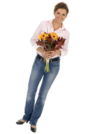 Woman holding bunch of flowers Stock Photo - 3675465
