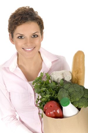 Woman holding grocery bag Stock Photo - 3675468