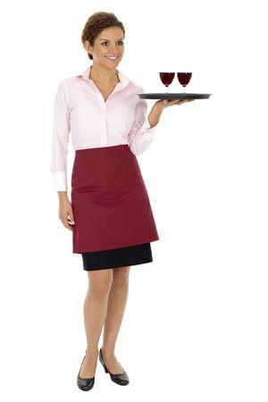 Waitress holding tray with wine glasses