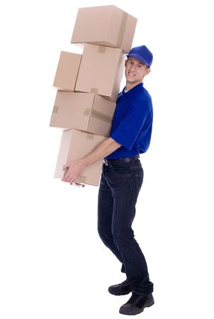 delivering: Delivery man carrying boxes