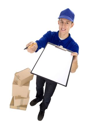 Courier with clipboard and cardboard boxes photo