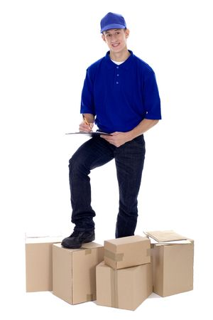 Delivery man with boxes  photo